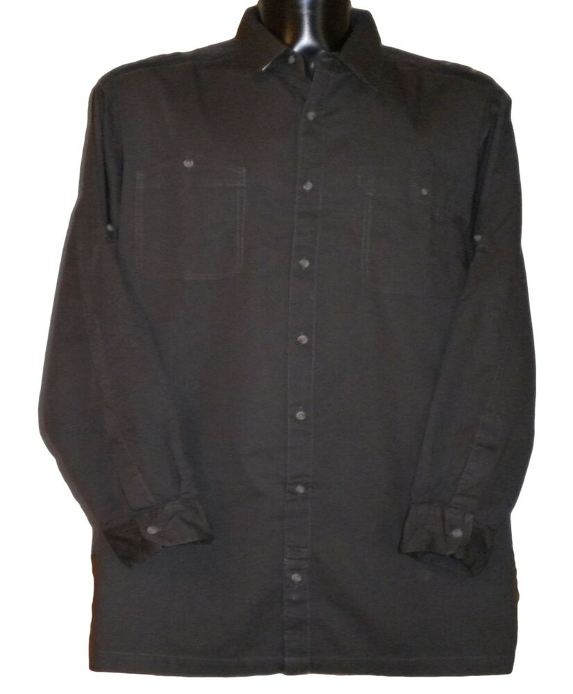 New mens big tall military style l s roll up long for Mens 2xl tall shirts
