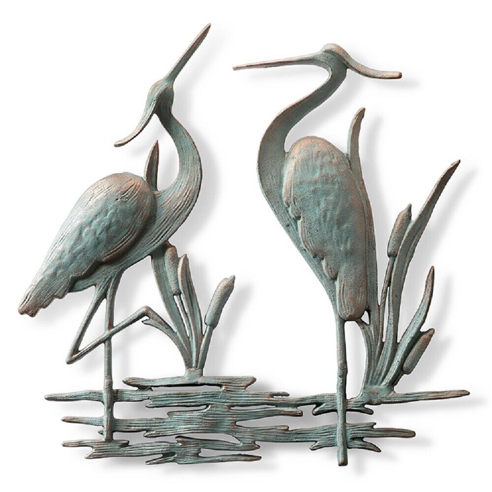 Double heron wall hanging decor coastal nautical metal art for Outdoor metal wall art