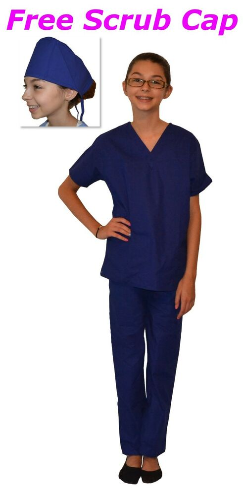 f36efc04fee Details about Kids Scrubs Royal Blue REAL Childrens Doctor and Nurse Scrub  Sets
