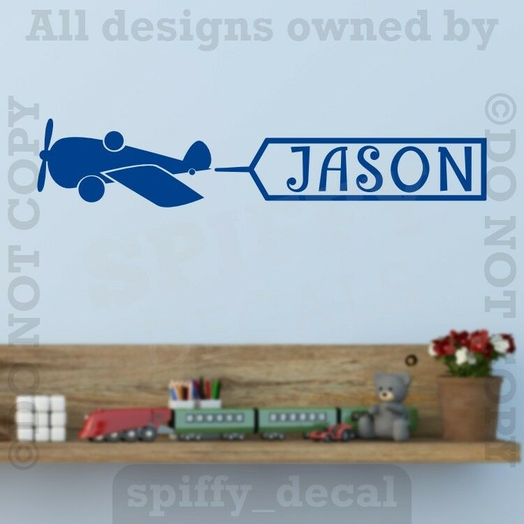 personalized monogram airplane name banner vinyl wall decal decor