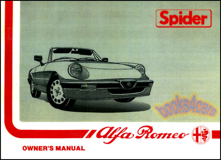 alfa romeo spider owners manual veloce handbook guide book. Black Bedroom Furniture Sets. Home Design Ideas