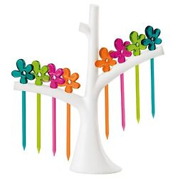 Koziol A-PRIL Party Set with Tree Rack -  White Tree w/ Assorted Color Picks.