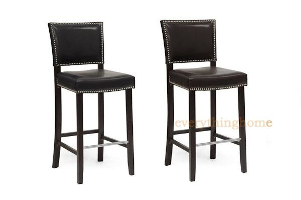 2 Modern Black Or Brown Faux Leather Bar Stools Nail Head