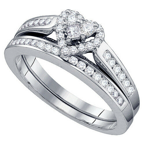 Womens heart shape diamond engagement promise halo ring for Ladies diamond wedding ring sets