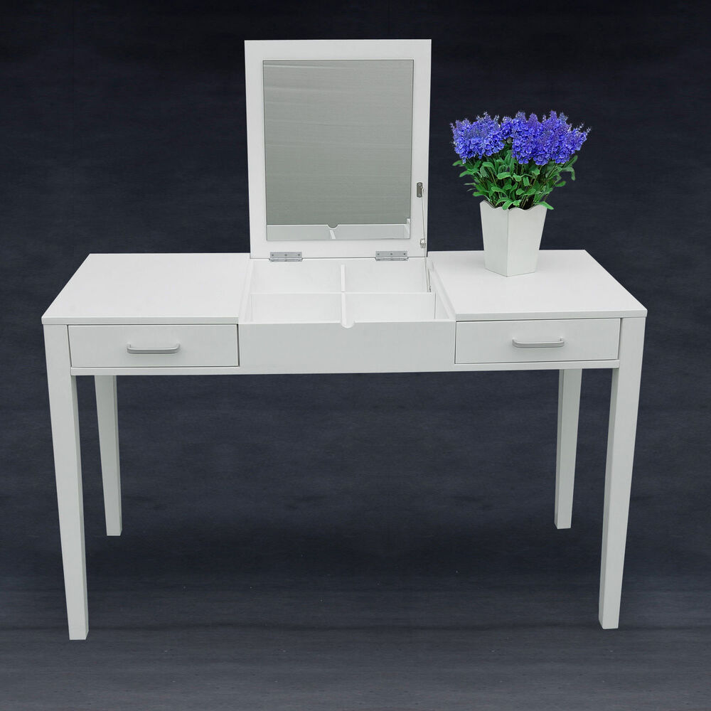 dressing table makeup desk w foldable vanity mirror 2 drawers storage white new ebay. Black Bedroom Furniture Sets. Home Design Ideas