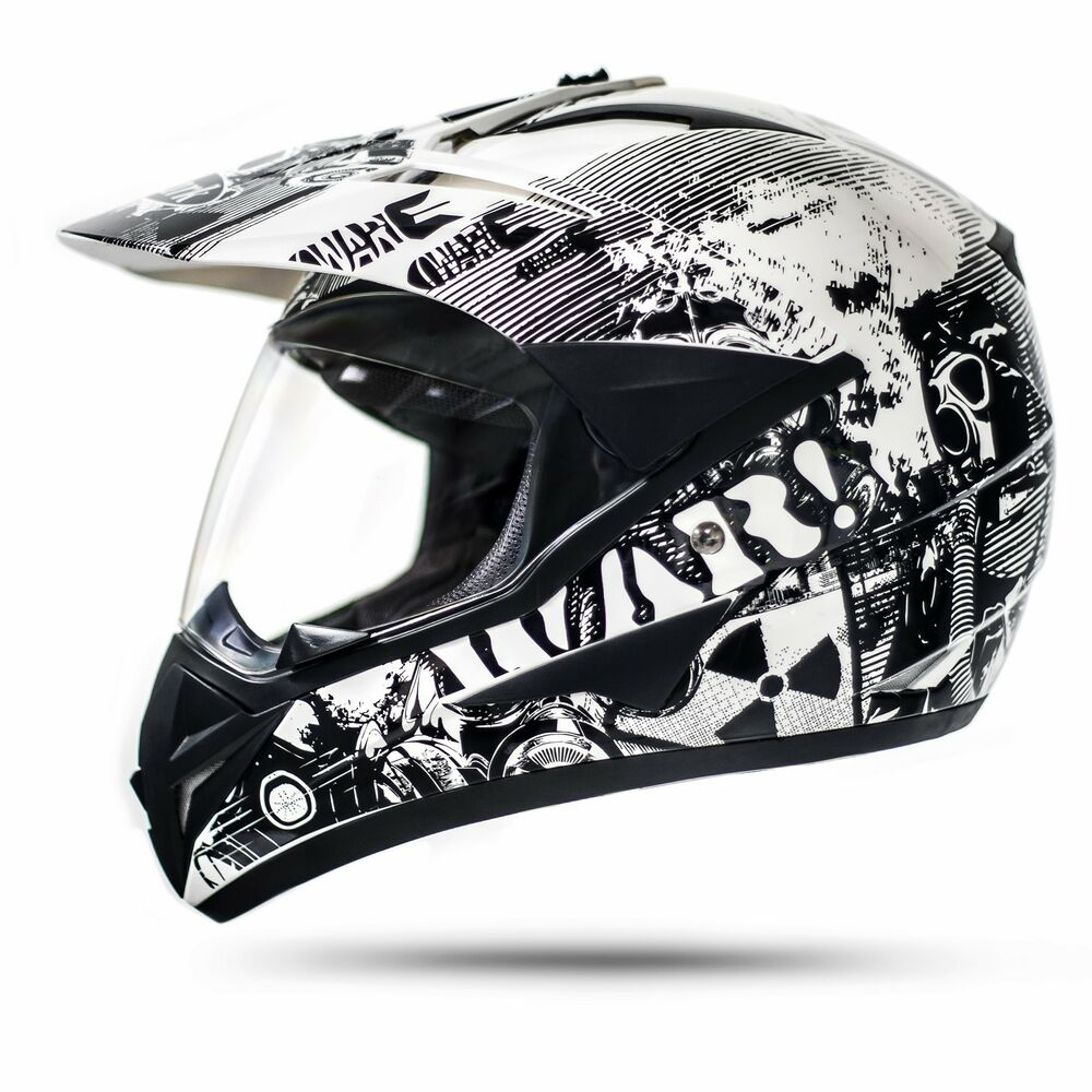 enduro helm mit visier wei l ece war crosshelm quad. Black Bedroom Furniture Sets. Home Design Ideas