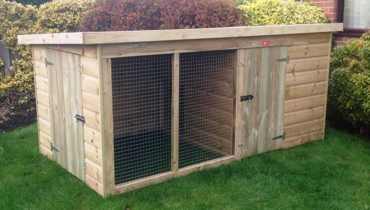Kennel And Run Compact Traditional Tanalised Wooden Dog