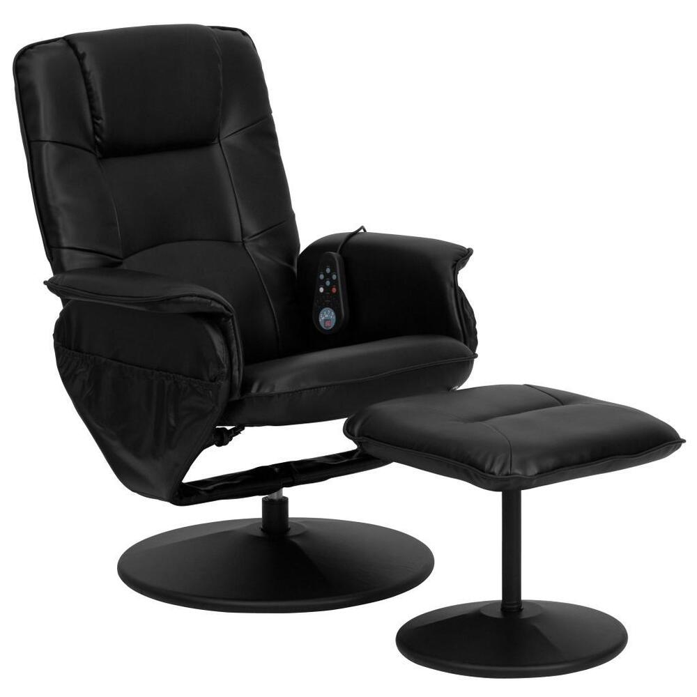 flash furniture black leather swivel massage recliner ottoman bt 753p massage ebay. Black Bedroom Furniture Sets. Home Design Ideas