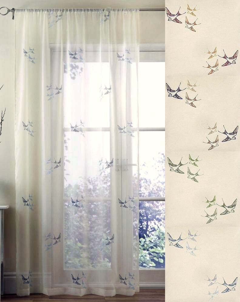 Pair Of Swallow Bird Embroidered Voile Curtain Panels Ebay