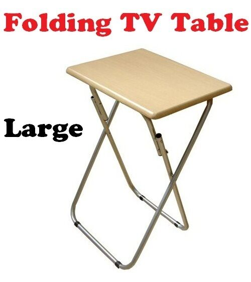 Folding Foldable Occasional Tv Table Tea Coffee Bed Side With Metal Legs Large Ebay