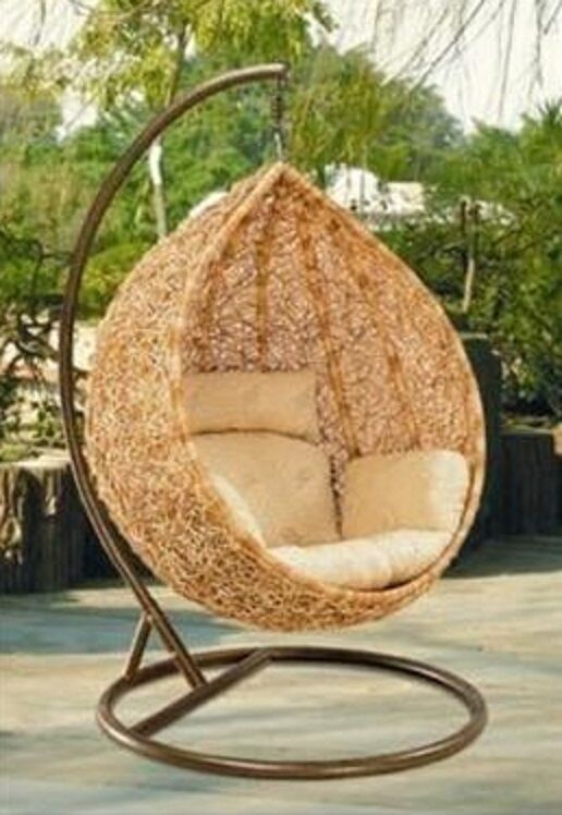 bn wicker hanging swing egg chair rattan in outdoor pod ebay