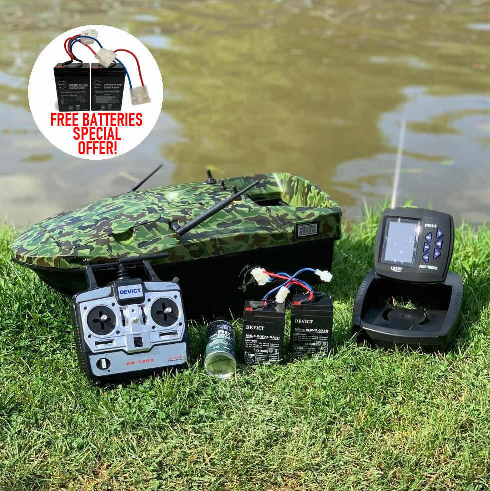 Brand new carp bait boat camo lake reaper with fish for Best fish finder for small boat