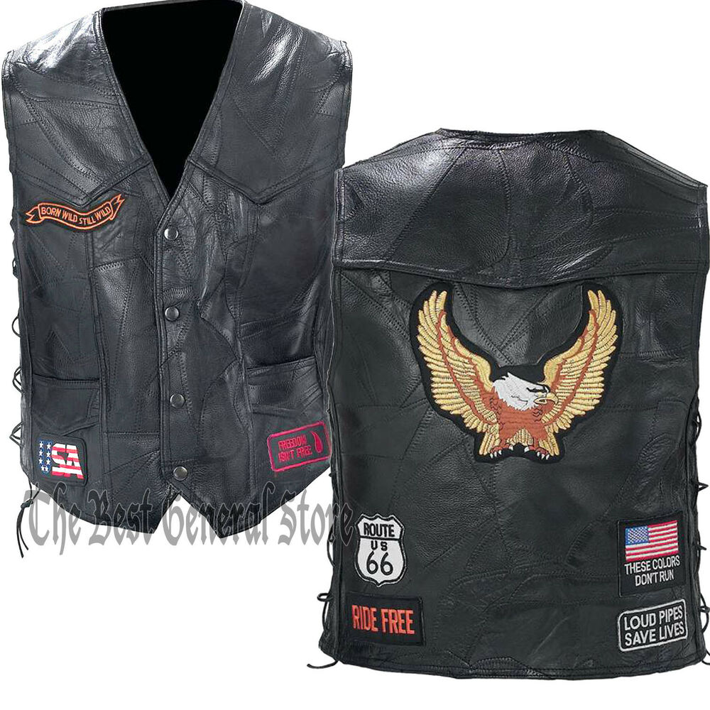 Biker Vest Patches >> Black Leather Motorcycle Riding Vest with Eagle and Biker Patches Lace Up Sides | eBay
