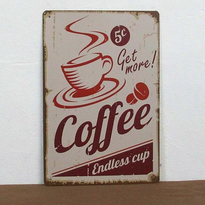 Antique Signs Wall Decor : Coffee metal tin sign vintage old time bar home decoration