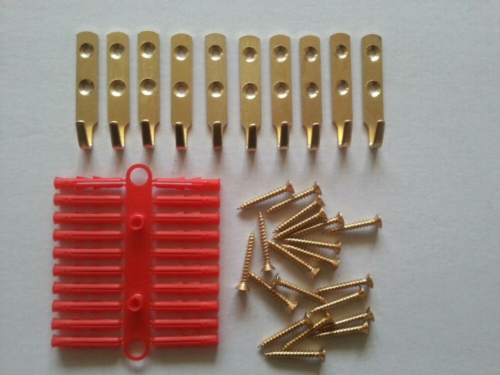 10 x heavy duty picture mirror hooks including screws for Mirror hooks