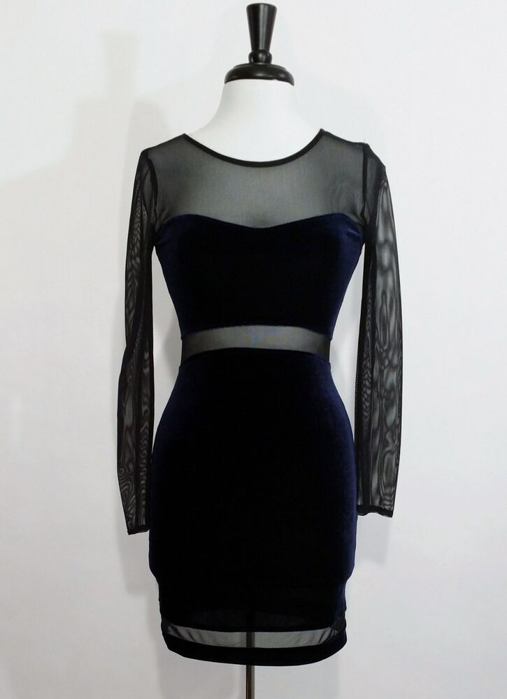 Navy blue velour amp black mesh long sleeve dress cut out sexy sheer