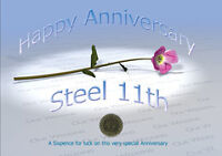 Sixpence for Luck 11th Steel Wedding Anniversary Card