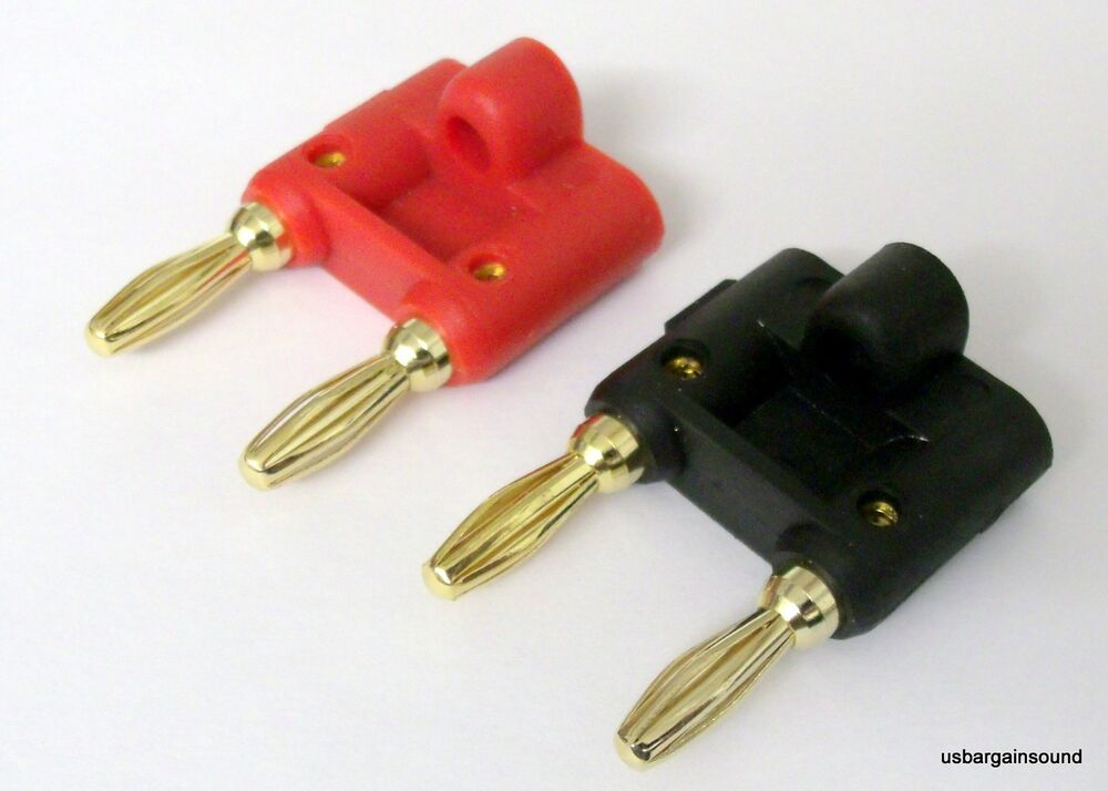 pair gold dual banana plug post jack speaker wire cable audio connector pc bc006 ebay. Black Bedroom Furniture Sets. Home Design Ideas