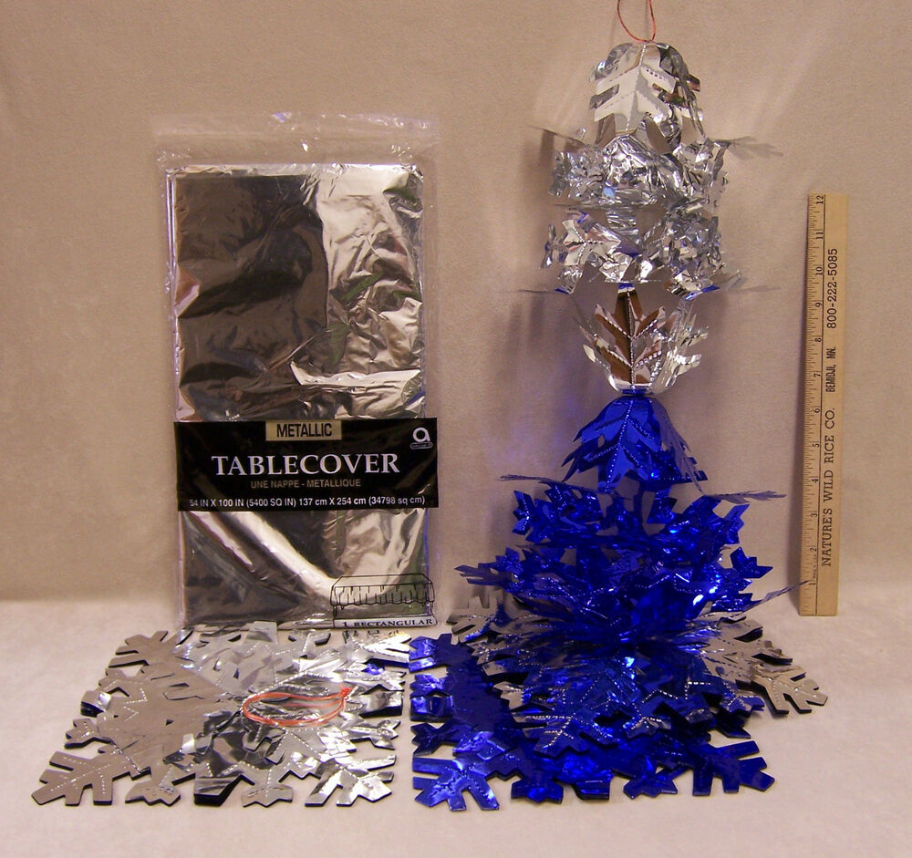 lot silver  u0026 blue party holiday winter decorations garland