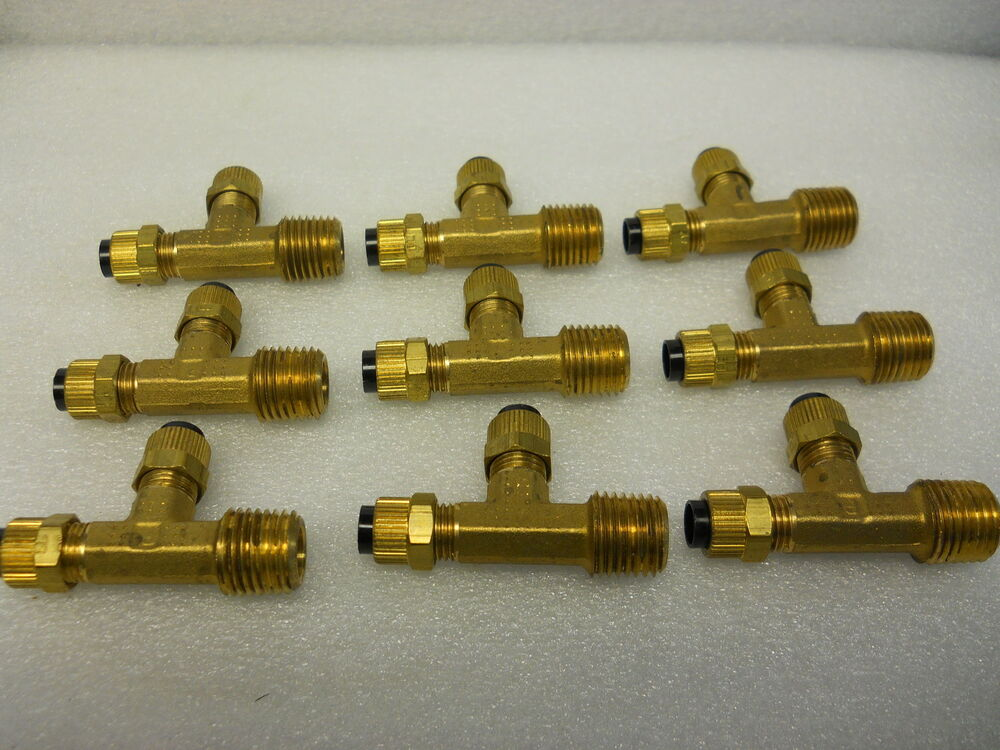 Parker p brass tee fittings quot npt od tube