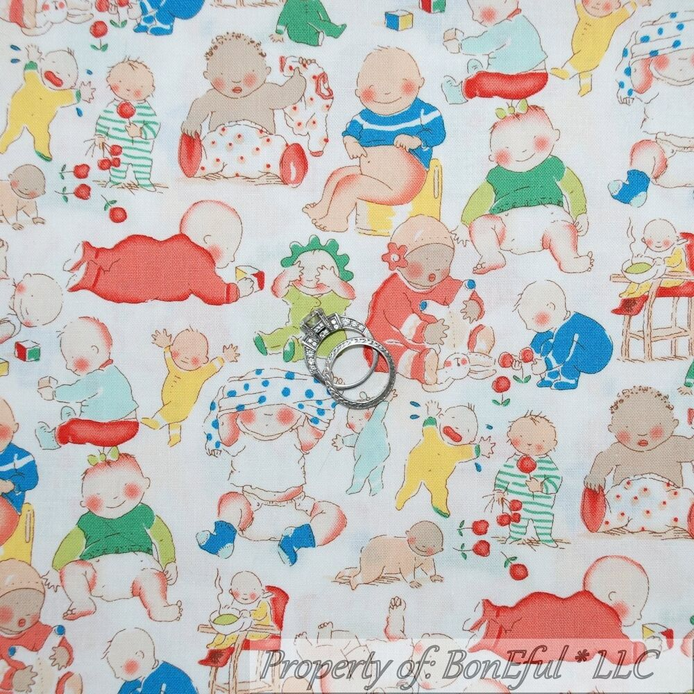 Boneful fabric fq cotton quilt white baby boy girl pink for Baby themed fabric