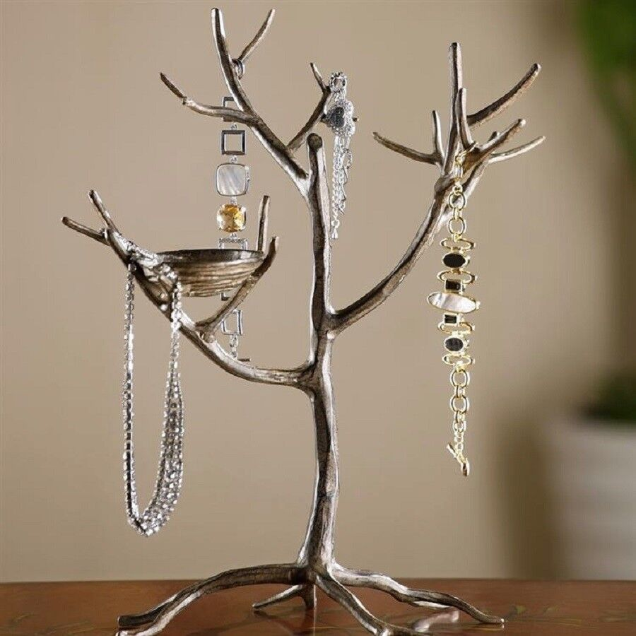 Jewelry tree bird nest branch jewelry holder stand for Tree branch jewelry holder