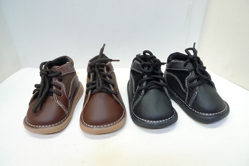 Brand New cute boy's Leather Casual Boots lace up Black ...