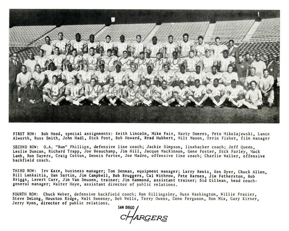 1969 San Diego Chargers Afl 8x10 Team Photo John Hadl