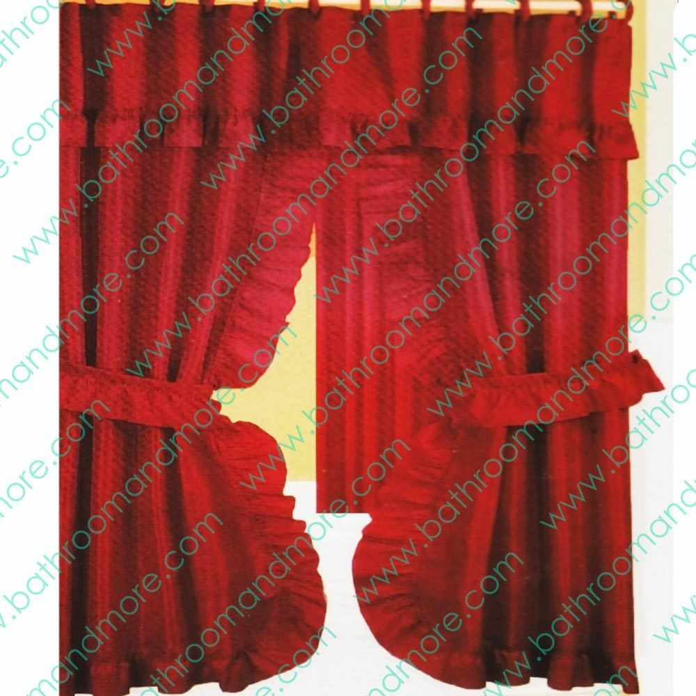 Double Swag Fabric Shower Curtain 12 Matching Hooks 2 Tie Backs Hooks Rusty Red Ebay