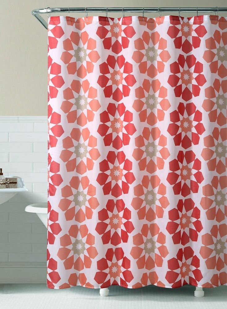 "Red and Rust Printed Fabric Shower Curtain : Geometric Flowers, 72"" X ..."