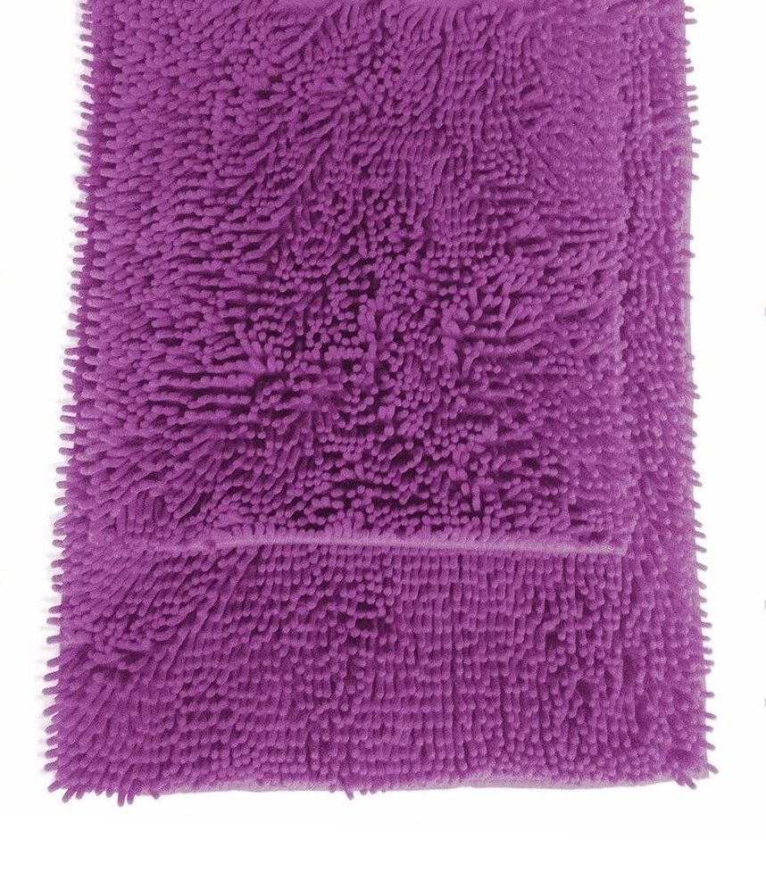 purple 2 high pile microfiber bath mat rug set 20 quot x