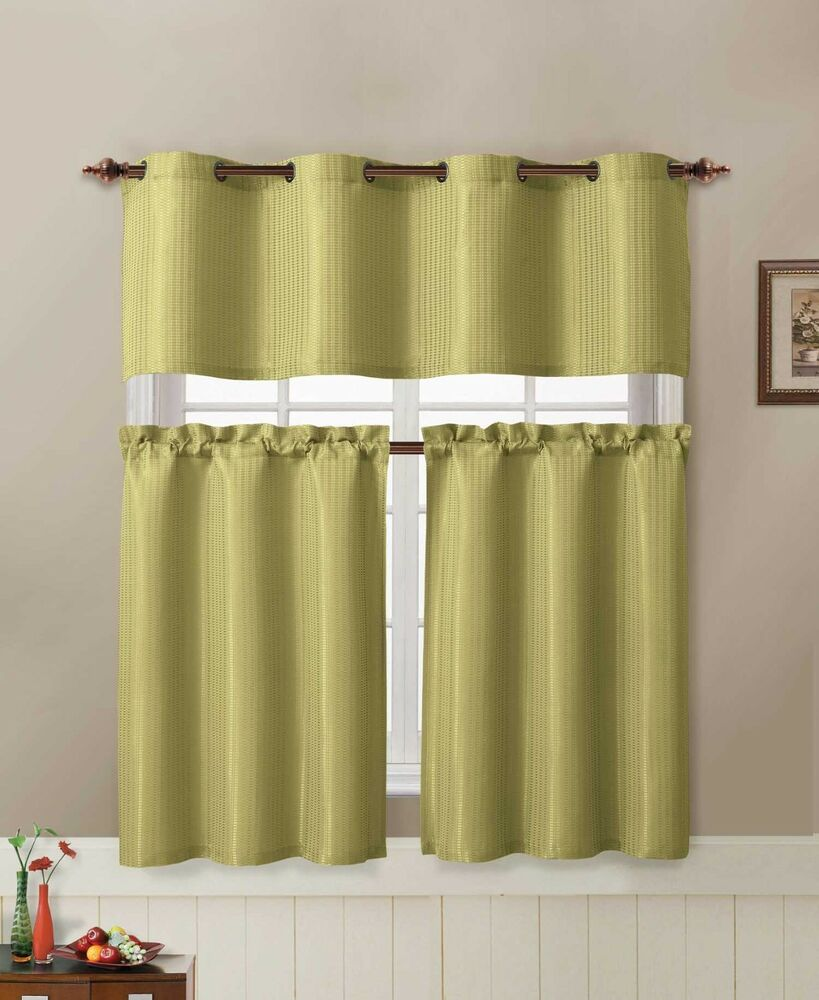 Jacquard Kitchen Window Curtain Set 2 Tier Panel Curtain 1 Valance Sage Green Ebay