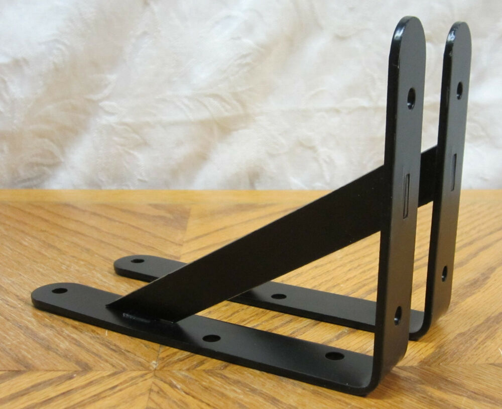 2 black extra heavy duty steel 5 x 7 l shelf brackets. Black Bedroom Furniture Sets. Home Design Ideas