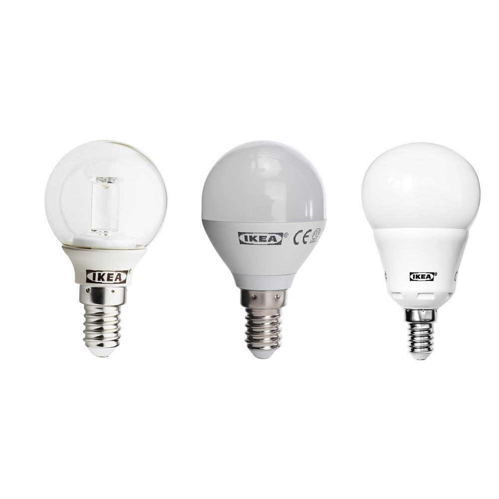 ikea ledare led globe bulb edison e14 screw cap 90 200 400 lumens clear opal ebay. Black Bedroom Furniture Sets. Home Design Ideas