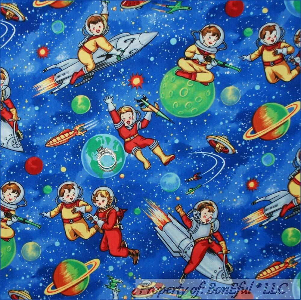 Boneful fabric fq cotton quilt blue white boy star sky for Space baby fabric