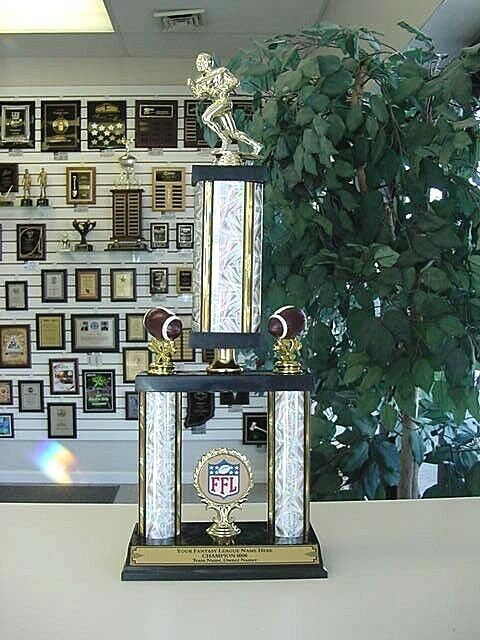 Fantasy Football Awesome Silver Two Post Trophy Our Custom
