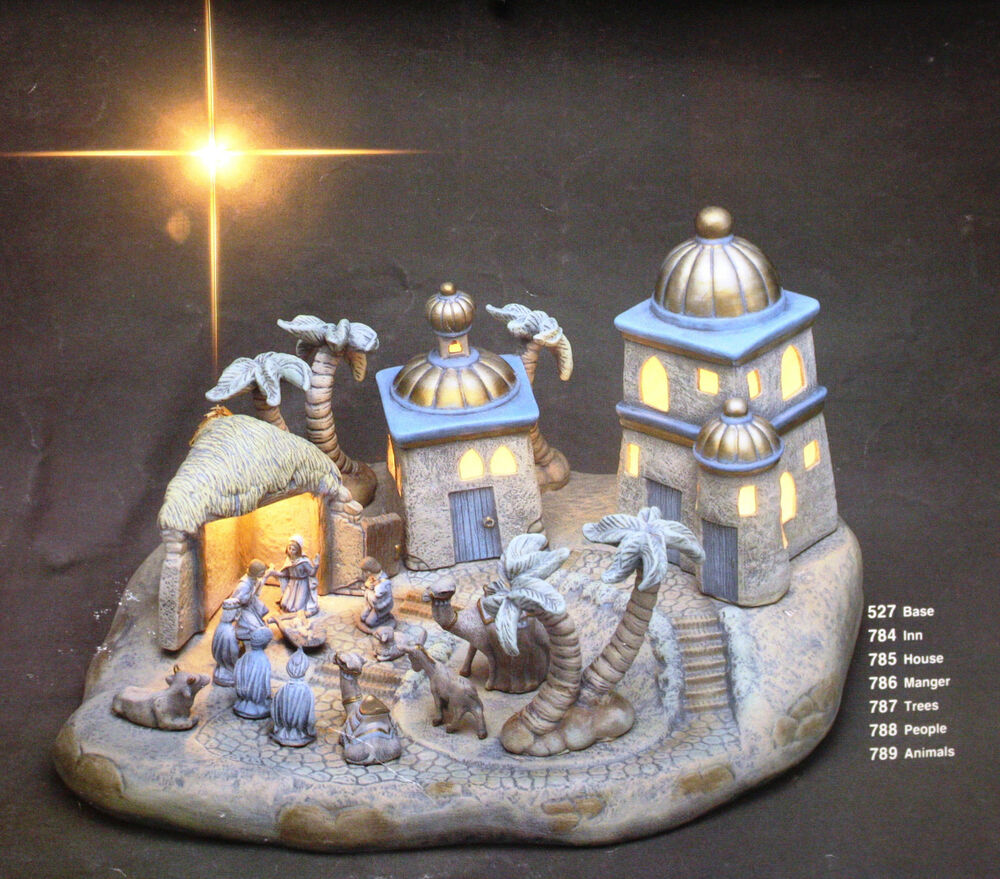 Ceramic Bisque Bethlehem Christmas Village Scene Light
