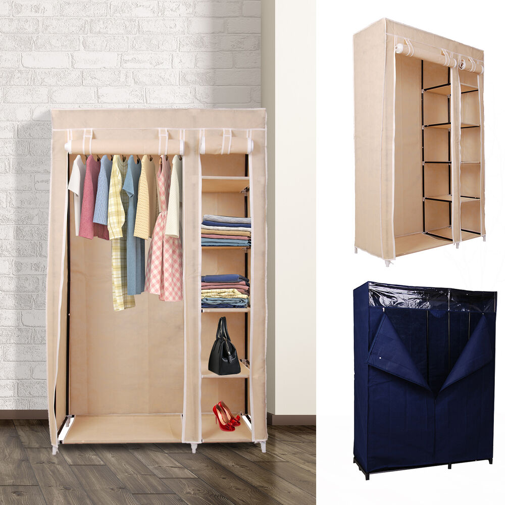 Canvas Storage Boxes For Wardrobes: Double Canvas Wardrobe With Hanging Rail Storage Shelves
