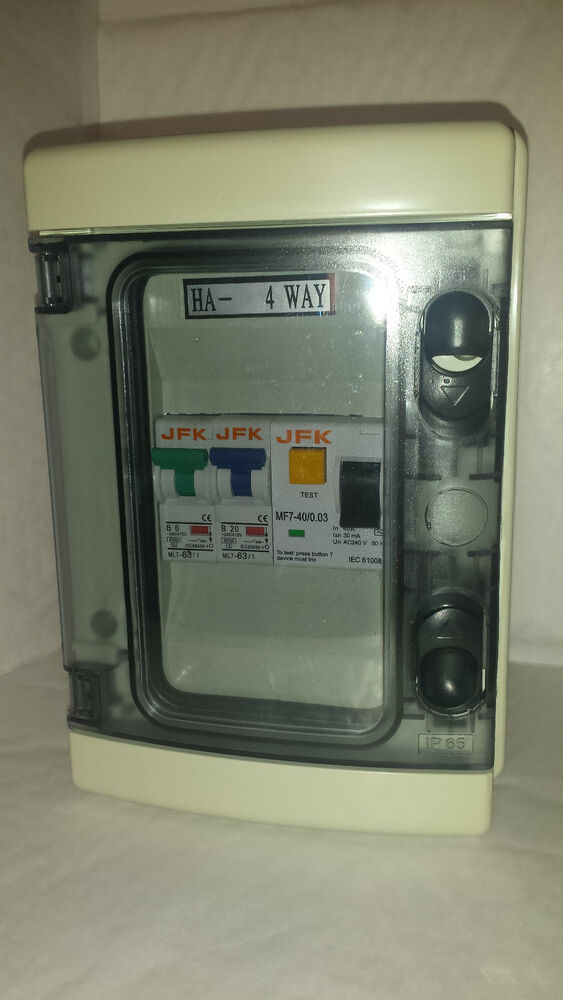 garage consumer unit ip65 40amp 30ma rcd 6 20amp or 6. Black Bedroom Furniture Sets. Home Design Ideas