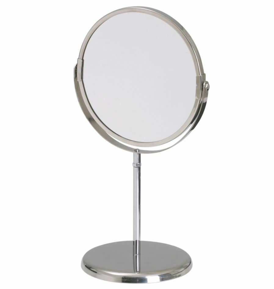 Ikea trensum stainless steel round mirror with stand one for Standing glass mirror