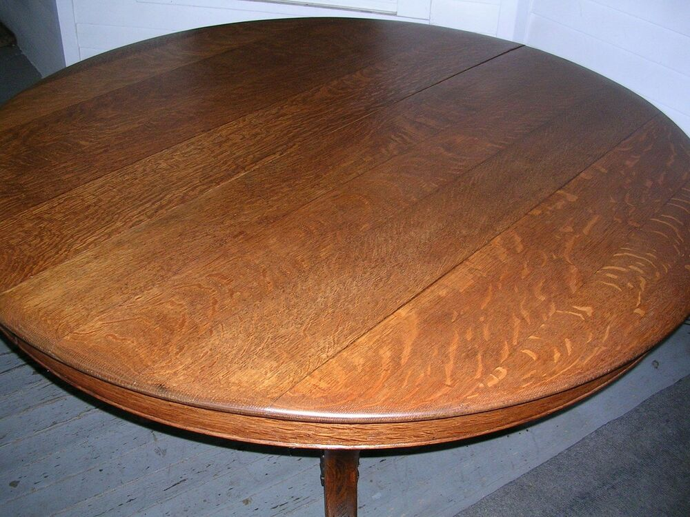 Oak Pedestal Table ~ Antique solid quartersawn oak inch round table carved