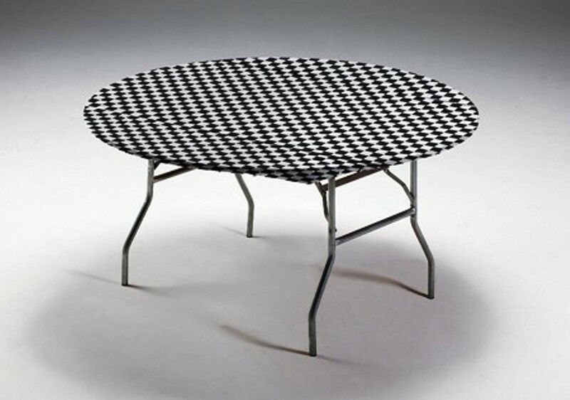 """12 BLACK & WHITE CHECK 60"""" ROUND FITTED PLASTIC TABLE ..."""