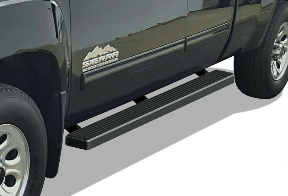 black 4 iboard running boards fit 99 13 chevy silverado. Black Bedroom Furniture Sets. Home Design Ideas