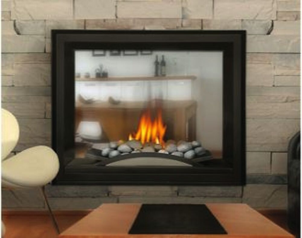 Direct Vent See Thru Gas Fireplace Modern River Rock 2