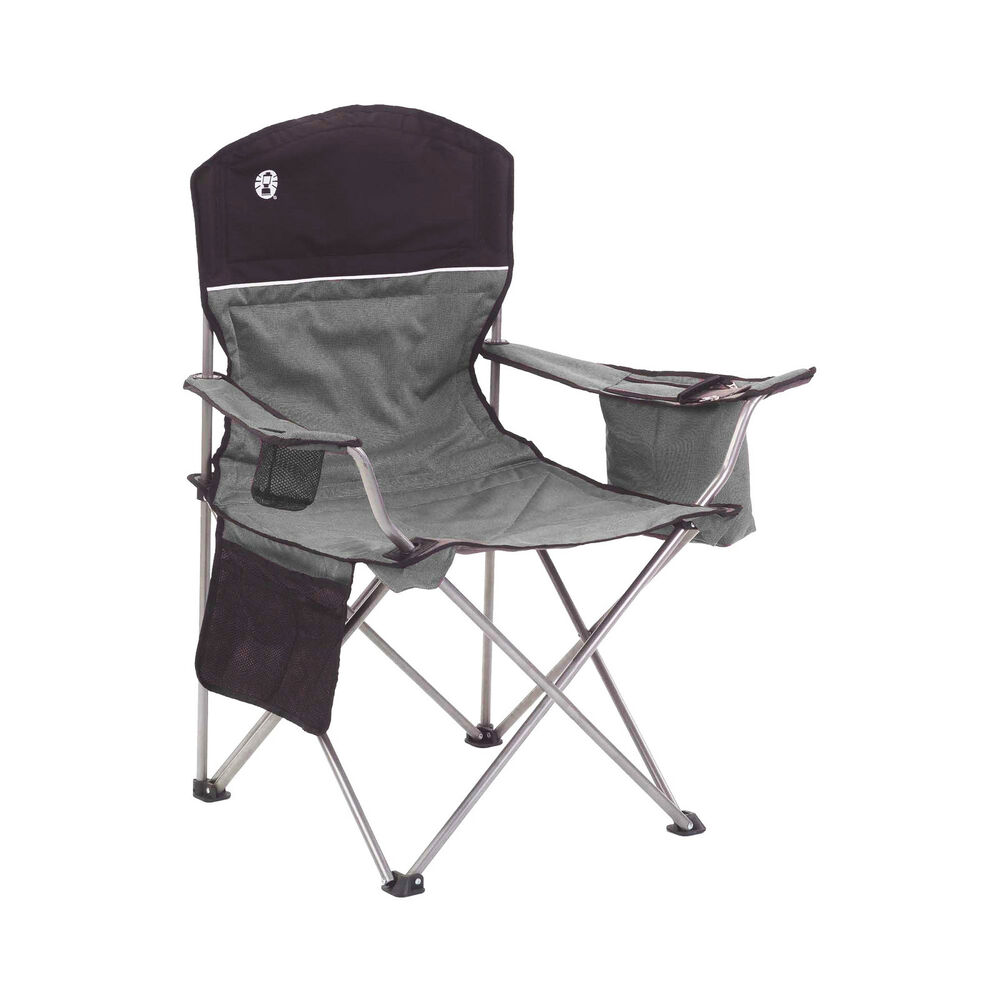 Coleman Oversized Quad Chair with Cooler and Cup Holder Black Gray