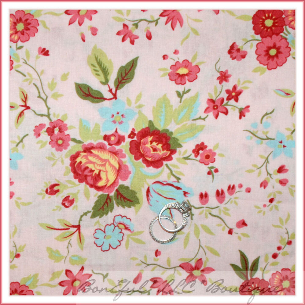Boneful fabric fq cotton quilt pink flower victorian blue for Toile shabby chic