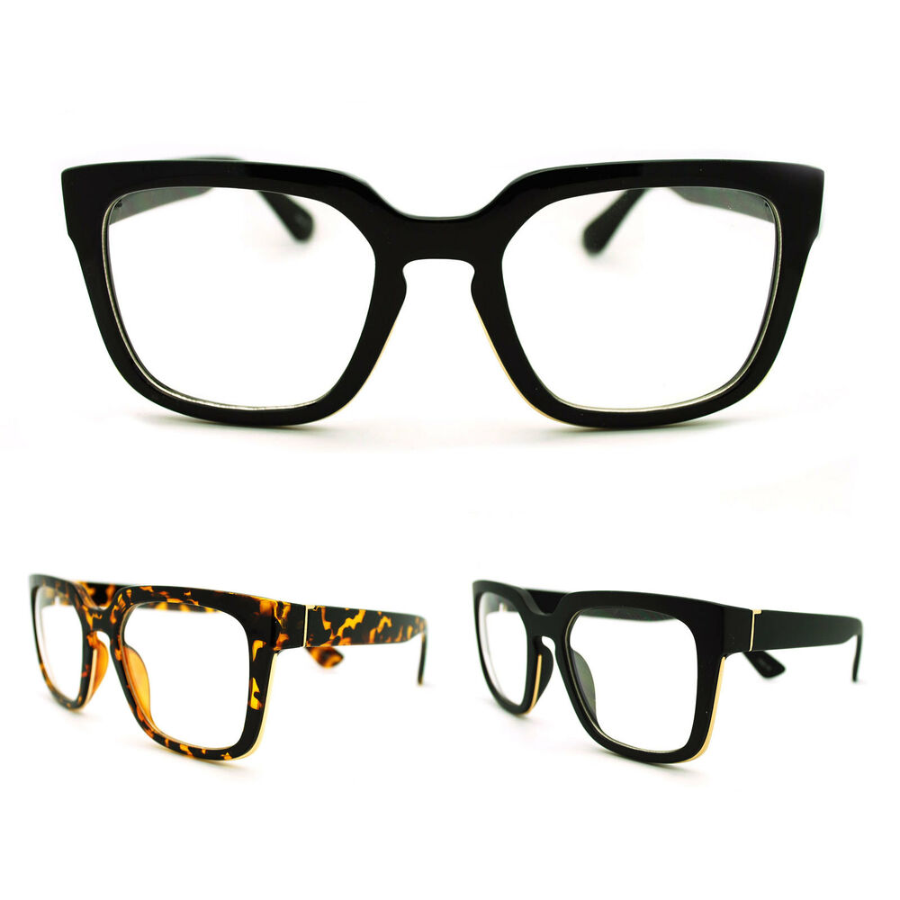 Glasses Frame For Thick Lenses : Mens Geeky Nerd Thick Plastic Frame Rectangular Horn Rim ...