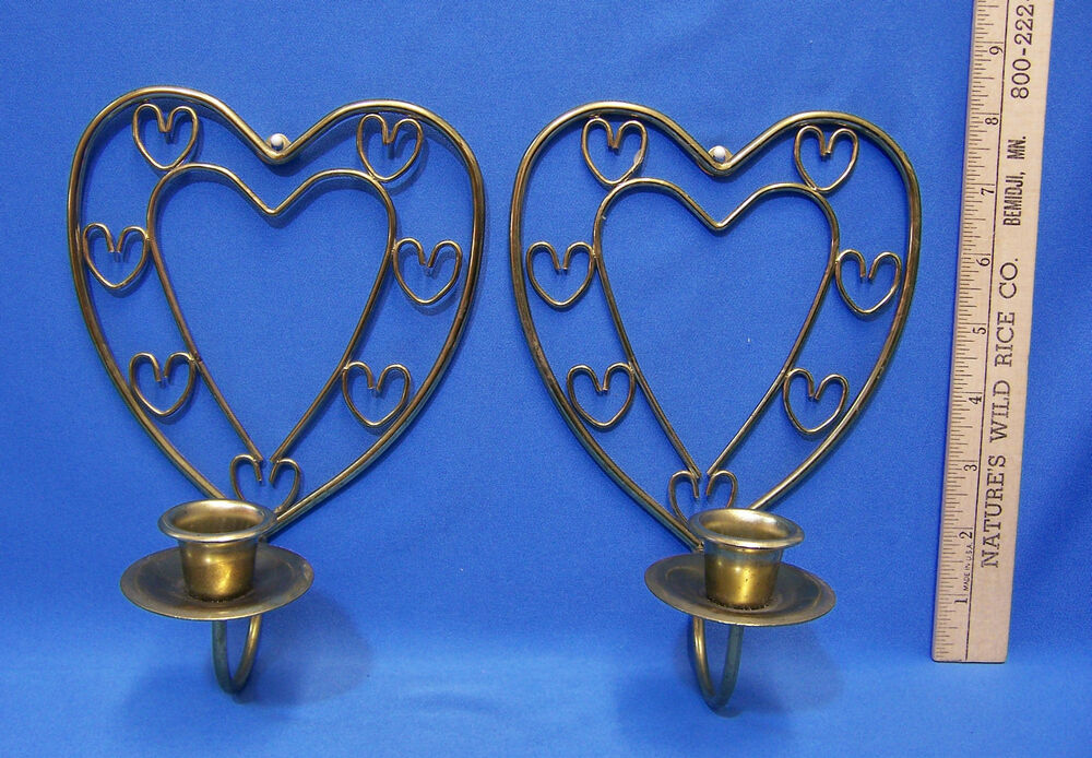 Metal Shaped Wall Lights : Pair Gold Tone Brass Metal Heart Shape Wall Sconce Candle Holder Antique Finish eBay