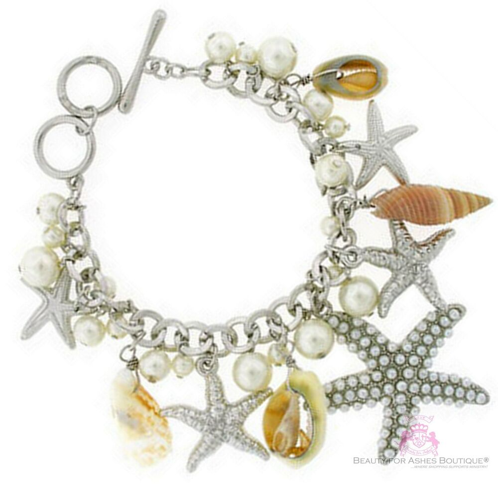 Seashell Charm Bracelet: Beauty For Ashes Sea Shell Charms Pearls Silver Starfish