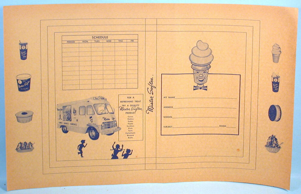 School Book Cover Advertising : Mister softee ice cream school book cover unused